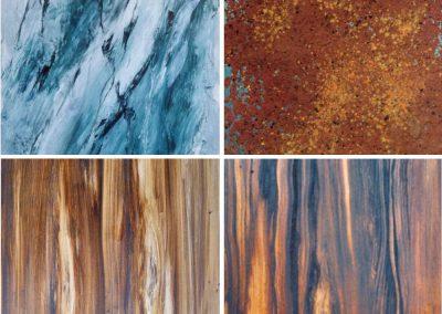 Materialimitationen (Marmor, Rost, Holz)